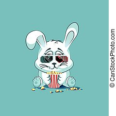 Illustration Emoji character cartoon White leveret chewing...
