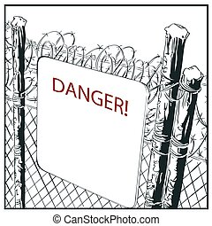 Fence with barbed wire and warning sign.