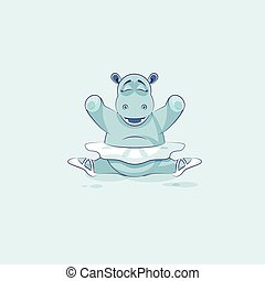 Vector Stock Illustration isolated Emoji character cartoon ballerina Hippopotamus sits in splits