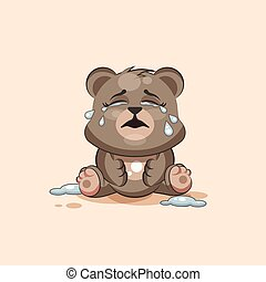 isolated Emoji character cartoon Bear crying, lot of tears...