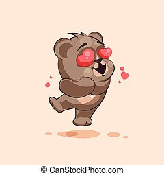 isolated Emoji character cartoon Bear in love flying with...