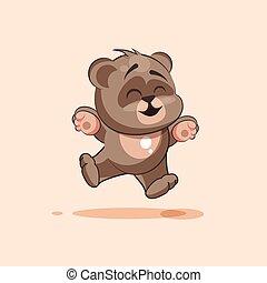 isolated Emoji character cartoon Bear jumping for joy, happy sticker emoticon