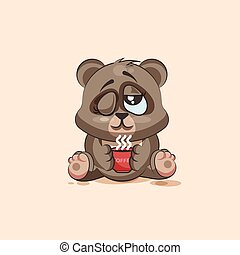 isolated Emoji character cartoon Bear just woke up with cup of coffee sticker emoticon