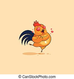 Emoji character cartoon Cock in love - Vector Stock...