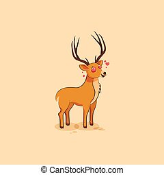 Illustration isolated emoji character cartoon deer in love...