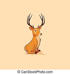 Illustration isolated emoji character cartoon deer squints...