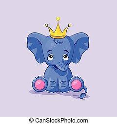 elephant calf happy and contented sticker emoticon