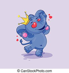 elephant calf in love flying with hearts - Vector Stock...