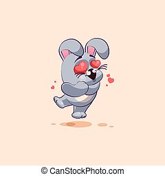 isolated Emoji character cartoon Gray leveret in love flying...