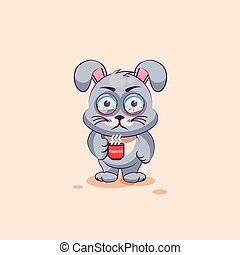 isolated Emoji character cartoon Gray leveret nervous with cup of coffee sticker emoticon