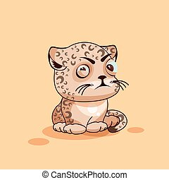 Leopard cub squints - Vector Stock Illustration isolated...