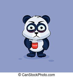 Illustration isolated Emoji character cartoon Panda nervous with cup of coffee sticker emoticon