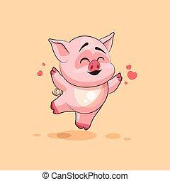 isolated Emoji character cartoon Pig jumping for joy, happy sticker emoticon