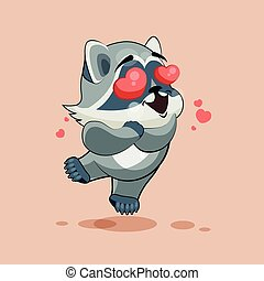 Raccoon cub in love - Vector Stock Illustration isolated...