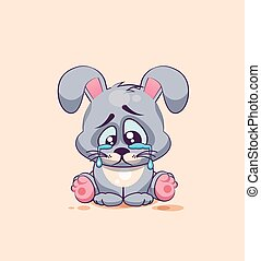 isolated Emoji character cartoon sad and frustrated Gray...