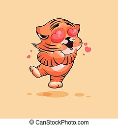 Tiger cub in love - Vector Stock Illustration isolated Emoji...