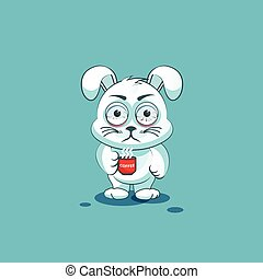 isolated Emoji character cartoon White leveret nervous with cup of coffee sticker emoticon