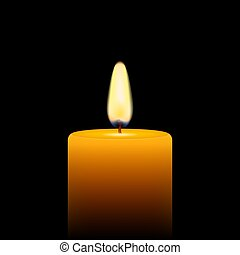 Vector stock illustration of yellow candle on black background