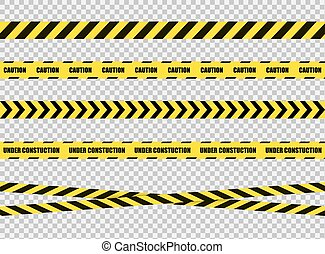 Vector Stop Tapes Set, Dangerous Zone Sign, Bright Yellow and Black Cross Lines on Transparent Background.