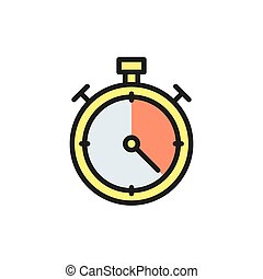 Vector stopwatch flat color icon. Isolated on white background