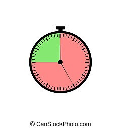 Vector Stopwatch Icon, Red and Green Colorful Time Meter, Isolated on White Background Illustration.