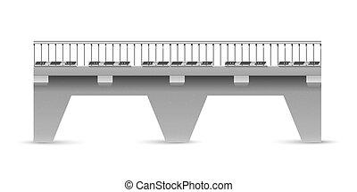 vector, straat, beton, brug, op, een, witte , achtergrond., de, spanwijdte, van, de, brug, met, verkeer, signs.