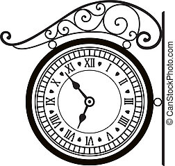 vector, straat, retro, klok