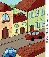 vector, straat, spotprent