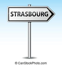 Vector strasbourg directional sign - Vector illustration of...