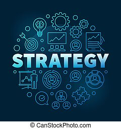 Vector Strategy round blue outline illustration