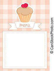 Vector strawberry cupcake card