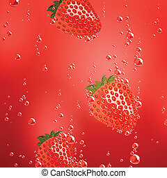 Vector Strawberry Falling in Liquid