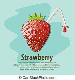 vector, strawberry., illustratie