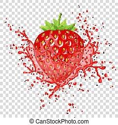 Vector strawberry juice splash.