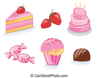 Vector strawberry products - Vector illustration of ...