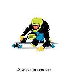 Vector Street Luge Cartoon Illustration.