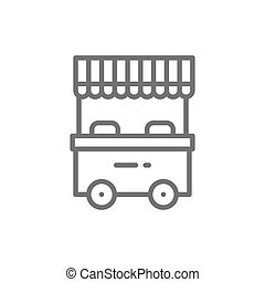 Vector street market, food stall line icon.