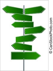 Vector Street Signs. Vector illustrationof 3 way Street Signs pointing in opposite directions