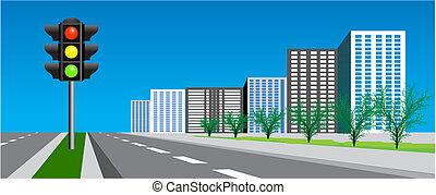 traffic signal - Vector street with road and traffic signal