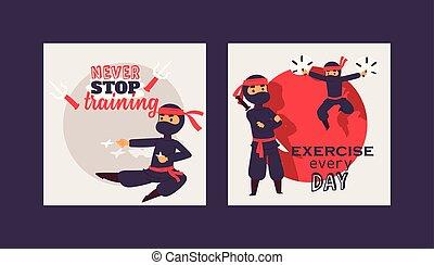 vector, strijder, anders, unbeatable, poster., illustration., posities, concept., nooit, karakter, spotprent, stoppen, vechters, weapons., gevarieerd, ninja, opleiding, alledaags, oefening