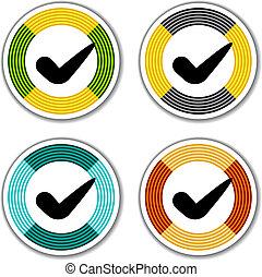 vector striped checkmark stickers