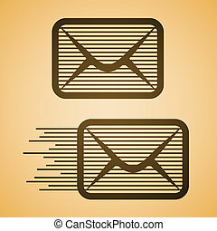 vector striped e-mail envelope icon