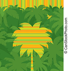 Vector striped tropical palm tree & flying humming-bird on a jungle forest green background