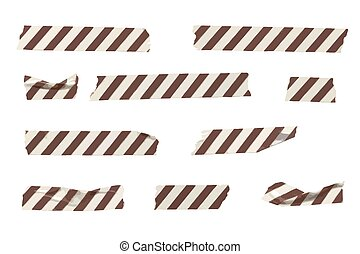 Vector striped washi tape stripes collection, wrinkled and folded washi tapes