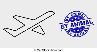 Vector Stroke Airplane Takeoff Icon and Scratched By Animal Stamp