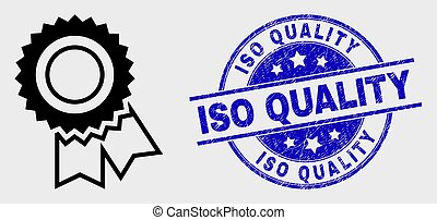 Vector Stroke Award Seal Icon and Scratched ISO Quality Stamp