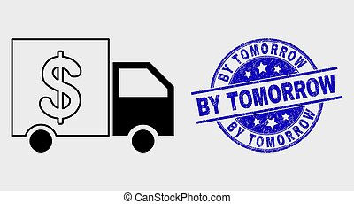 Vector Stroke Banking Delivery Icon and Scratched By Tomorrow Stamp Seal