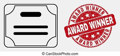 Vector Stroke Certificate Diploma Icon and Scratched Award Winner Stamp Seal