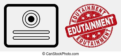 Vector Stroke Certificate Icon and Distress Edutainment Stamp Seal
