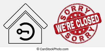Vector Stroke Home Keyhole Icon and Grunge Sorry We'Re Closed Stamp